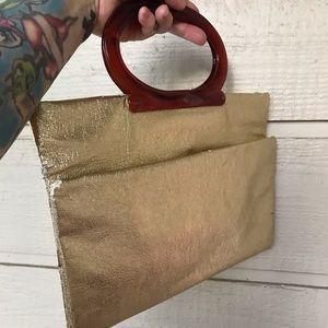 Vintage Bags - Vintage disco gold lamé adjustable clutch bag